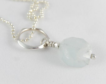 AQUAMARINE pendant + ballchain. A casual long necklace with an ice blue natural gemstone, all Sterling silver.
