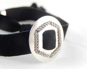 SAMURAI silver and suede bracelet. Embroidered  Sterling silver buckle and a genuine suede band.