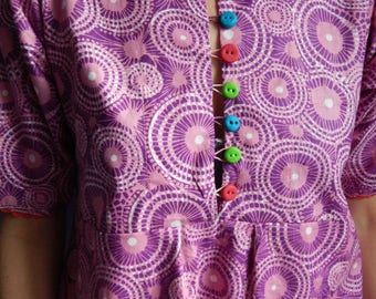Cotton dress with pockets, multicolored buttons and rickrack