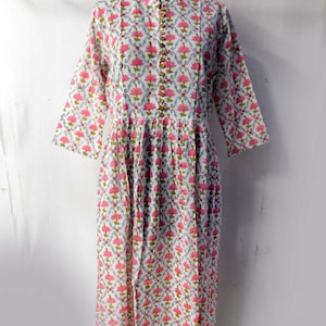 Floral print cotton top hand block printed tunic long evening gown long dress ethnic traditional plus size regular fit dress