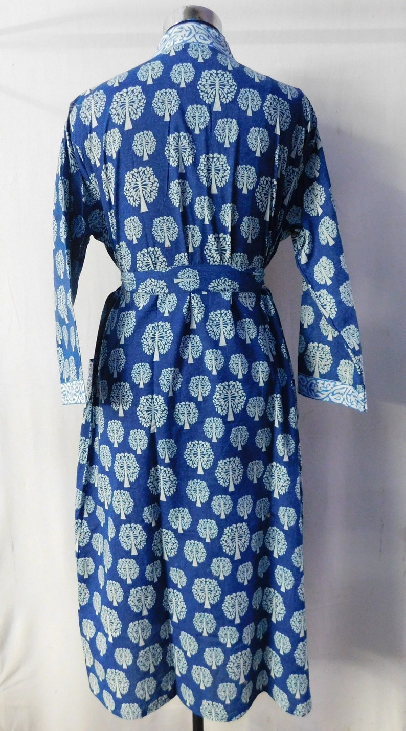 Indian Handmade Long Dress Women Wear Kimono Intimate Sleepwear Body Crossover Hand Block Printed Long Bathrobe Maxi Dress Nightgown