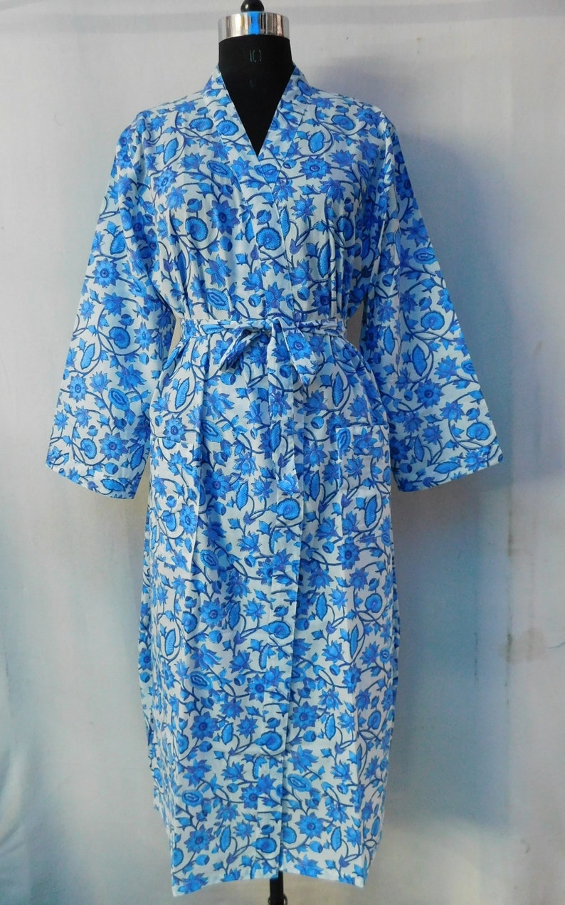 Details about  /Blue Cotton Kimono Robes Block Print Dressing Gown Night Wear Robe for Women