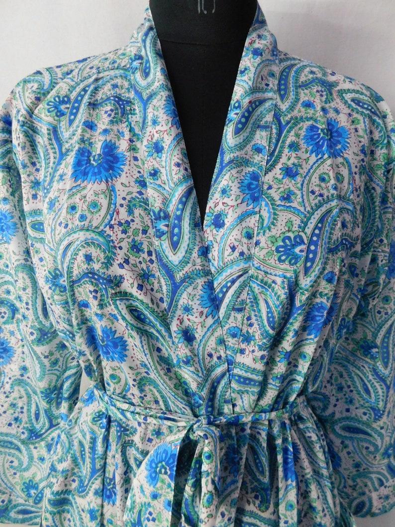 Hand Block Paisley Printed Cotton Kimono Body Crossover Summer Bridal Robes Bridesmaid Dressing Gown Designer Bathrobe Free Shipping
