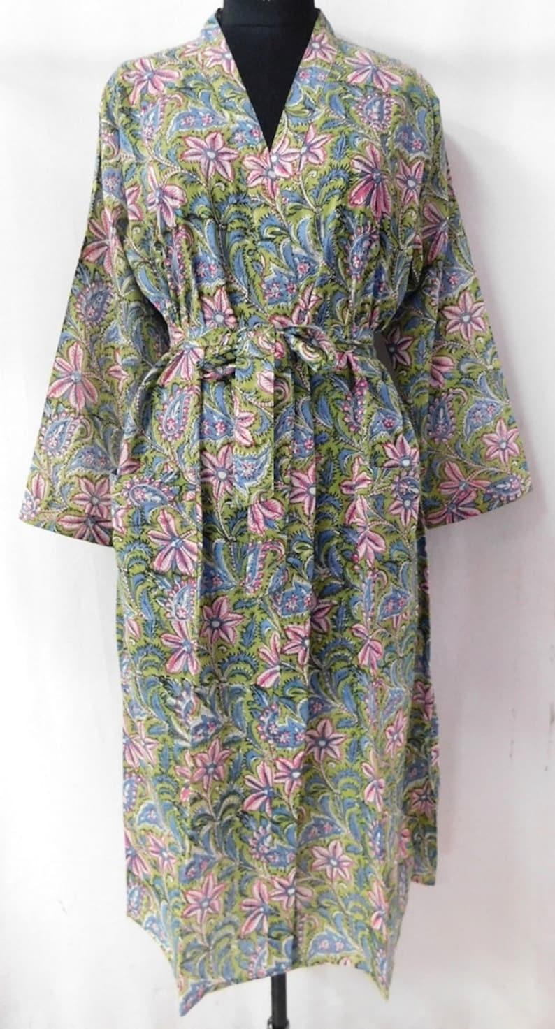 Indian Hand Dyed Fabric Women Wear Long Gown Beach Cover Up Bath Robe Kimono