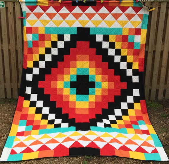 Chief Native American Quilt Etsy Interesting Native American Quilt Patterns