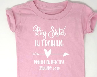 Pregnancy Announcement Shirt, Pregnancy Announcement Toddler Shirt, Big Sister in Training, Middle Sister, Big Sister To Be, Big Brother To