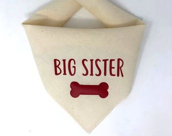 Dog Pregnancy Announcement Bandana, Big Sister Dog Bandana, Big Sister To Be Pregnancy Announcement, Big Sister in Training, Big Brother