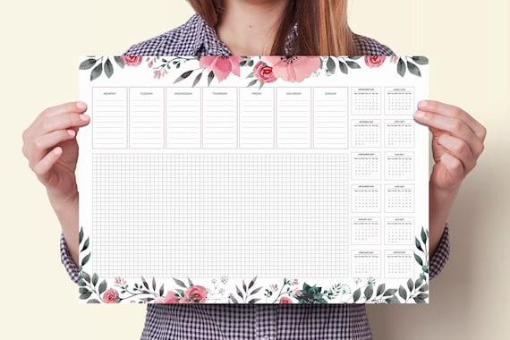 Desk Planner 2019 A3 Desk Pad Desk Pad Calendar 2019 Desk Etsy
