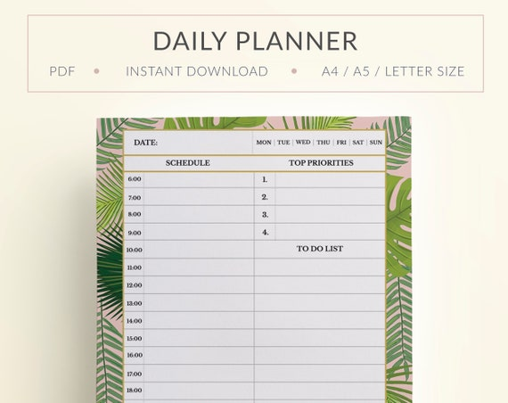 printable daily tropical planner printable tropical agenda etsy