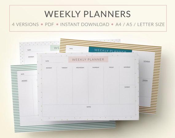Printable Weekly Planner Printable Weekly Calendar Printable Etsy