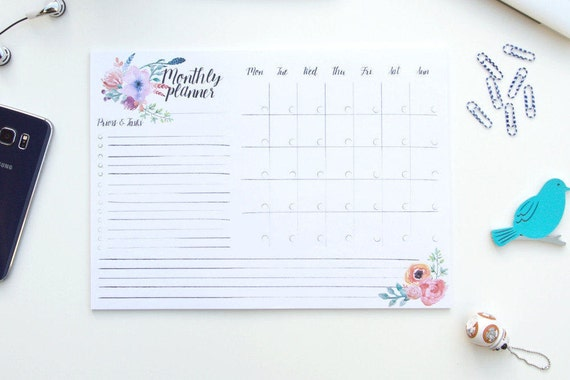 illustrated monthly planner pad monthly schedule maker etsy