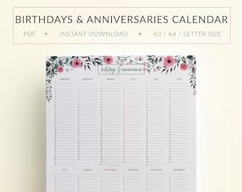 Printable Birthdays & Anniversaries Calendar, Printable Birthdays Planner, Printable Anniversaries Planner, Printable Birthdays Calendar