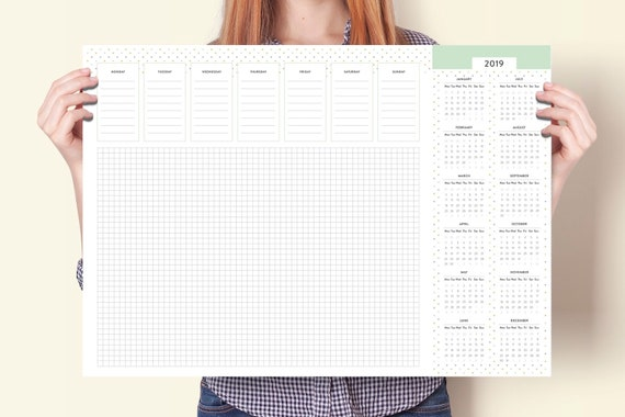 Monthly Weekly Planner Desk Pad A2 Desk Pad Calendar With Etsy