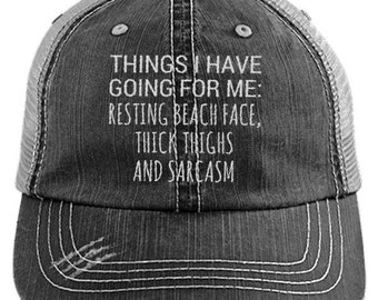 a72ab49a26c Things I Have Going For Me Distressed Mesh Trucker Cap, Cute Vintage  Baseball Hat, Trendy Gifts, Womens Summer Fitness Hats, Caps For Women