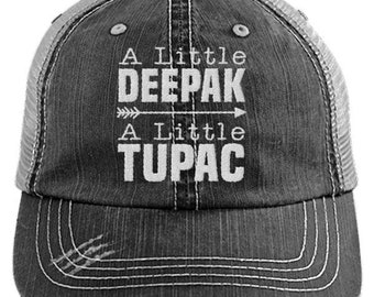 c221afab372ca A Little Deepak A Little Tupac Distressed Mesh Trucker Cap