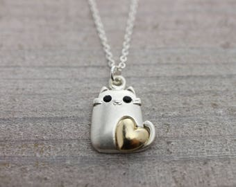 Silver love cat on sterling silver chain necklace