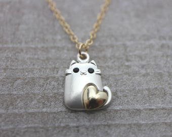Silver love cat on gold chain necklace