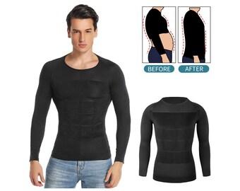 Men Slimming Body Shaper Abdomen Shapewear Waist Trainer Belly Shapers Corrective Posture Vest Compression Shirts Sleeve Corset