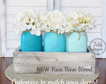 Rustic Mason Jar Centerpiece, Farmhouse Decor, Rustic Decor, Barn Wood Box Decor, Distressed Painted Jars, Country Cottage Mason Jars Decor