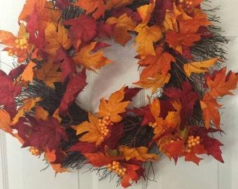 Fall wreath / front door wreath / door wreath /  holiday wreath / thanksgiving wreath F27