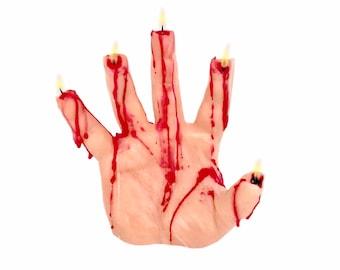 Bleeding Hand Candle - Halloween Decor - Halloween Candles - Halloween Decorations - Fall Candle Horror Decor - Creepy Candles - Nightbooks