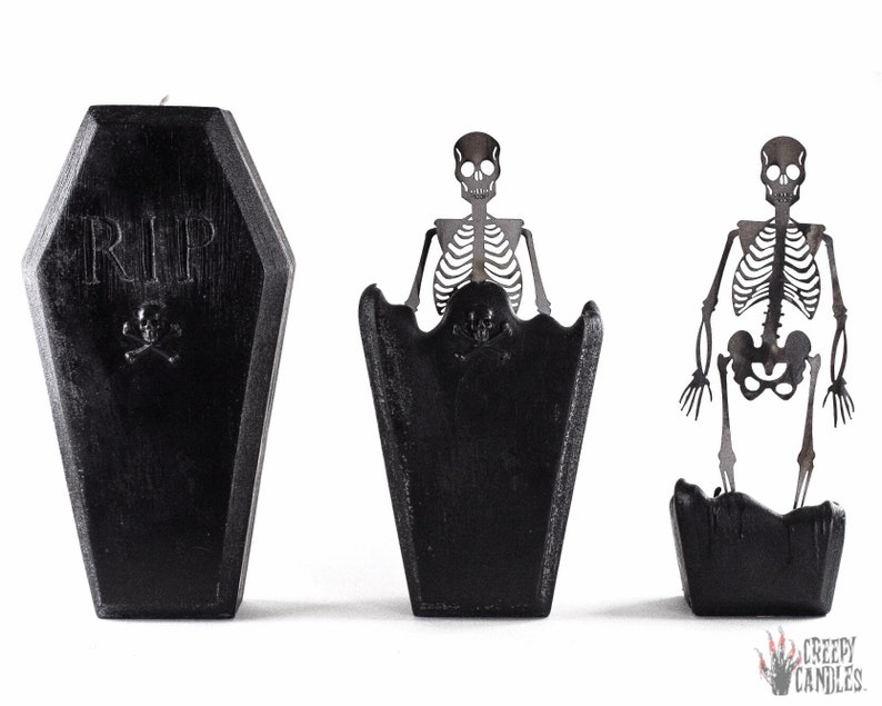 Coffin Skeleton Candle  Halloween Candles  Creepy Candles  image 0