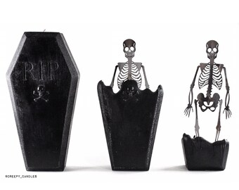 Coffin Skeleton Candle