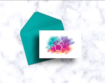Indian Ohm Watercolor Card Set * Ohm Watercolor Card * Indian Inspired Stationary Set * Watercolor Greeting Cards