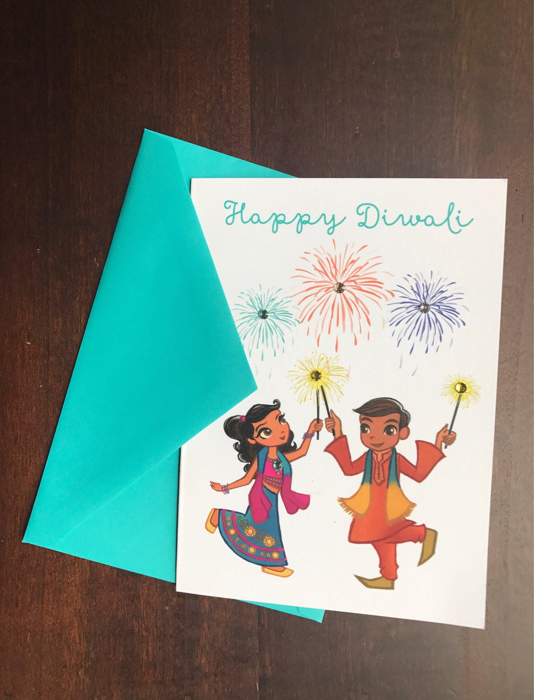 Happy Diwali Card Diwali Greetings Indian Celebrations Etsy