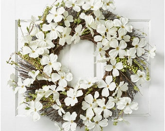 """CLASSiC WHiTE DOGWOOD BLooMS WREATH 22"""" Decor, Dogwood Front Door Wreath, Artificial Flower Front Door Wreath Decor, Farmhouse Summer Wreath"""
