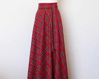 f2231f2dcb Red tartan maxi skirt Red plaid maxi skirt Red maxi skirt with pockets Red  long skirt Red long plaid skirt Long woman skirt Maxi Skirt