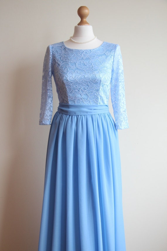 Long Blue Lace Dress For Bridesmaids Pastel Blue Bridesmaid Etsy
