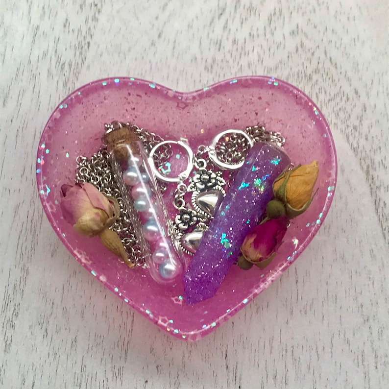 Handmade Pink Heart Holographic  Pearlized with Star Accents Heart Shaped Trinket Dish