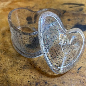 Neon green holographic flake glitter heart shaped clear resin dish