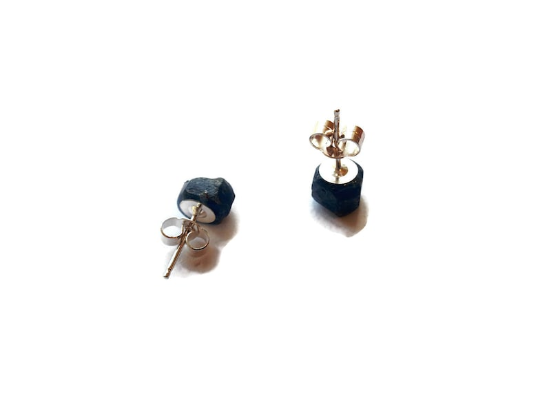Blue Sapphire Earrings Raw Mineral Sterling Silver Studs September Birthstone