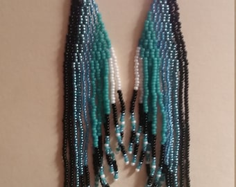 Black, white and teal earrings