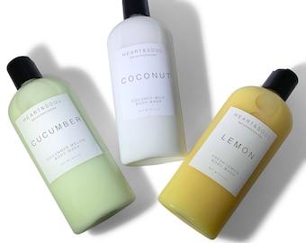 Natural Handmade Vegan Body Wash-Organic Body Wash-Lemon body Wash-Lavender Body Wash-Vanilla Body Wash-Cruelty Free Body Wash-Shower Gel