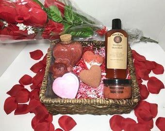 Romance Gift Basket-Natural Organic Handmade Bath&Body product-Heart Shape BathBomb-Soap-lip Balm-sugar scrub-body wash-lip scrub- bath salt