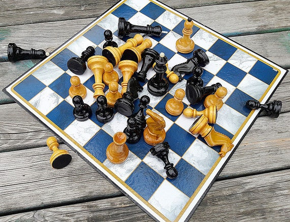 big wooden russian grandmaster chessmen USSR in the original box Grossmeister vintage soviet tournament chess pieces set