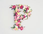 Flower letter initial personalize nursery room. Floral letter pink flowers greenery. Nursery wall art, wall hanging. Baby girl shower gift
