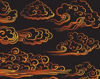 Orange Cloud,Orange wave,Drawn Wind,Hand-drawn clouds,Painted by hand wave,Cloud cartoon,Cartoon wave,Orange curls,Drawn curls,Kids Clipart