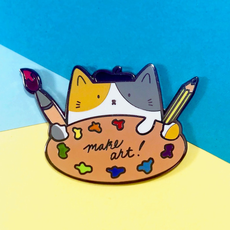 Make Art! Artist Pin  Artist Cat  Enamel Pin For Artists  Gifts For Artist   Painter Pin  Lapel Pin  Cat Lover Pin  Cat Lover Gift  Cat Pins