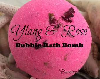 YLANG & ROSE Bubble Bath Bomb ,Bubble Bar,Bubble Bath,Bath Fizzie,Spa Bath Bomb,Essential Oils