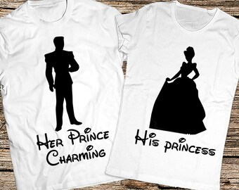 77613c5e0e Her Prince and His Princess shirts, His Cinderella and Her Prince Charming,  Cinderella and Prince Charming couple shirt, Disney matching