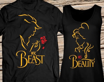 9e61e8d159a91 His Beauty and Her Beast Personalized Shirt for Him and Tank