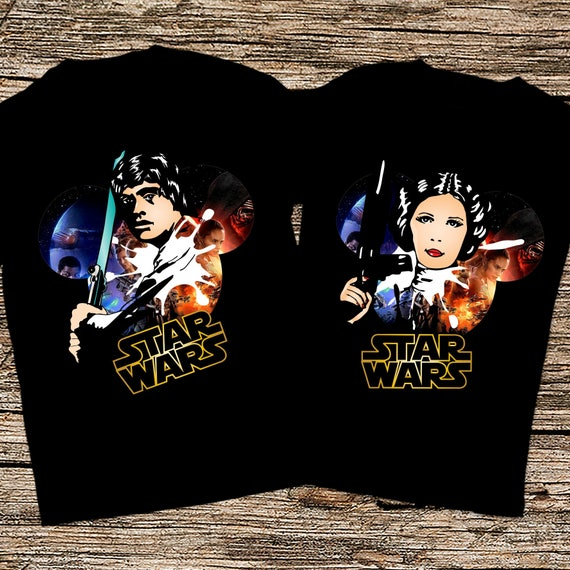 Disney Star wars couple shirts, Luke Skywalker and Princess Leia shirts, Matching Star Wars couple shirts, Star Wars The Last Jedi shirts