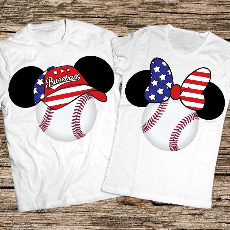 Mickey And Minnie Couples Shirts Baseball couple...