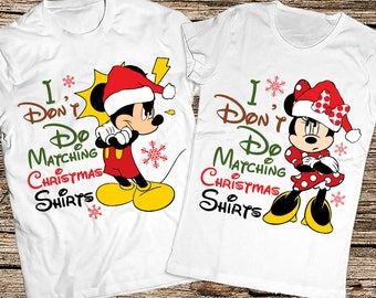 I Don't Do matching Christmas shirts Me Either, Funny Christmas couple shirts, Mickey and Minnie Christmas, Disney Matching couple shirt