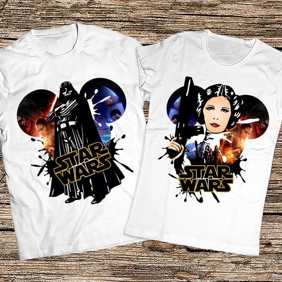 Disney Star wars couple shirts, Darth Vader and Princess Leia shirts, Matching Star Wars couple shirts, Star Wars The Last Jedi couple shirt