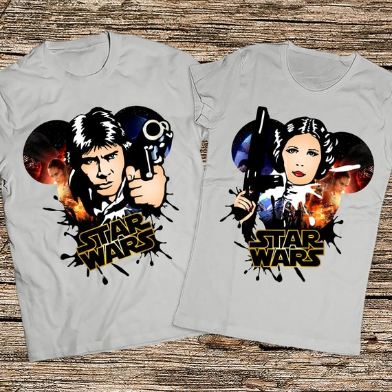 Items similar to Disney Star wars couple shirts, Han solo